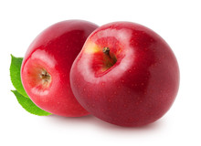 Isolated Apples. Two Whole Red, Pink Apple Fruit With Leaves Isolated On White With Clipping Path