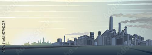 Staande foto Industrial geb. Industrial Cityscape Vector