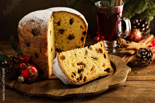 Fotografie, Obraz  Traditional Christmas panettone with dried fruits