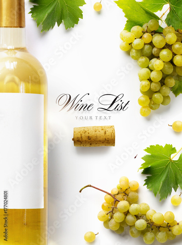 wine list background; sweet white grapes and wine bottle