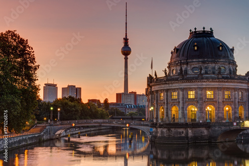 Poster Berlin Sunrise at the Bode-Museum in Berlin with the Television Tower in the back