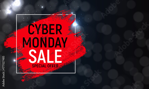 Leinwand Poster Cyber Monday Background Sale Concept. Vector Illustration