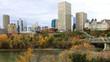 Edmonton, Canada city center with colorful aspen in autumn