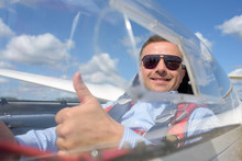 Glider Pilot Smiling And Showing Thumbs Up