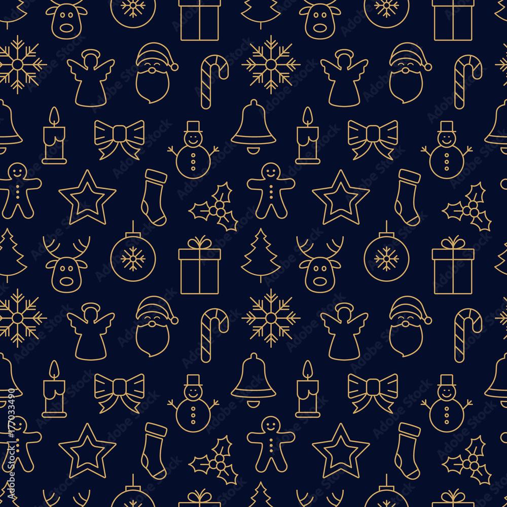 Foto-Leinwand ohne Rahmen - merry christmas icon pattern seamless elements golden background