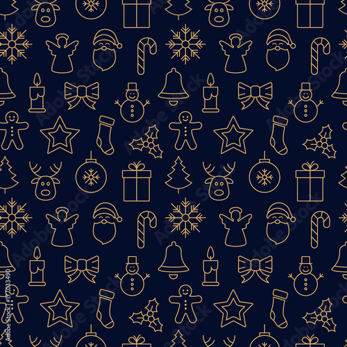 Foto-Vinylboden - merry christmas icon pattern seamless elements golden background (von Pixasquare)