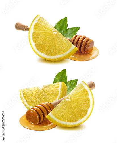Lemon piece, honey dipper set isolated on white