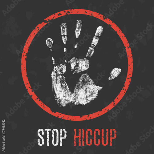 Photo  Vector illustration. Human sickness. Stop hiccup.