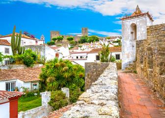 Scenic summer sight in Obidos, Leiria District, Portugal.