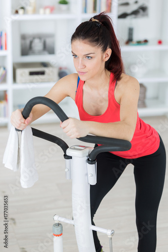 Fényképezés  sporty woman exercising on step machine in bright living room