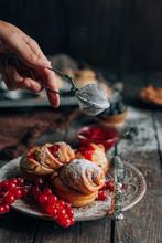 Homemade Cinnamon Rolls With Raspberries Glaze