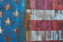 American Flag On Distressed Metal