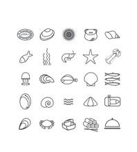 Pictogramme, Icônes, Mer, Océan, Pêche, Fruits De Mer, Crustacés