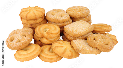 Tela Assortment of Danish butter biscuits isolated on a white background