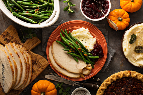 Thanksgiving plate with turkey, mashed potatoes and green beans