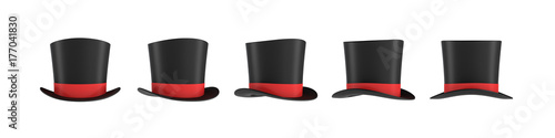 Leinwand Poster 3d rendering of a set of several black magician's hats with one red stripe in different side views