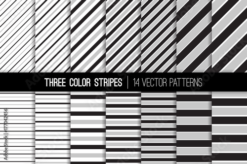 three color stripes vector patterns black white and gray diagonal and horizontal lines