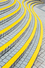 Curved Stairway With Painted Yellow Line