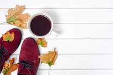 Female Suede Boots Autumn Leaves Cup Of Coffe