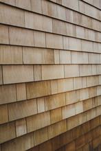 Cedar Shingles On Building Wall Exterior