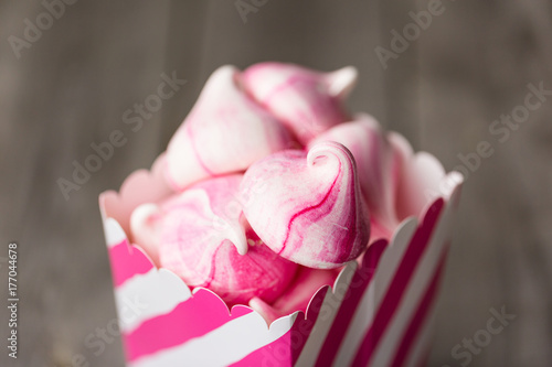 Prink striped Meringue Kisses in pink and white treat box