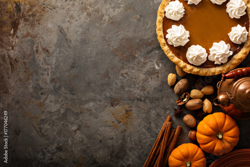 Fotografie, Obraz Pumpkin pie with whipped cream