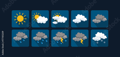 Fotografie, Tablou Weather vector icons  flat design - Set1