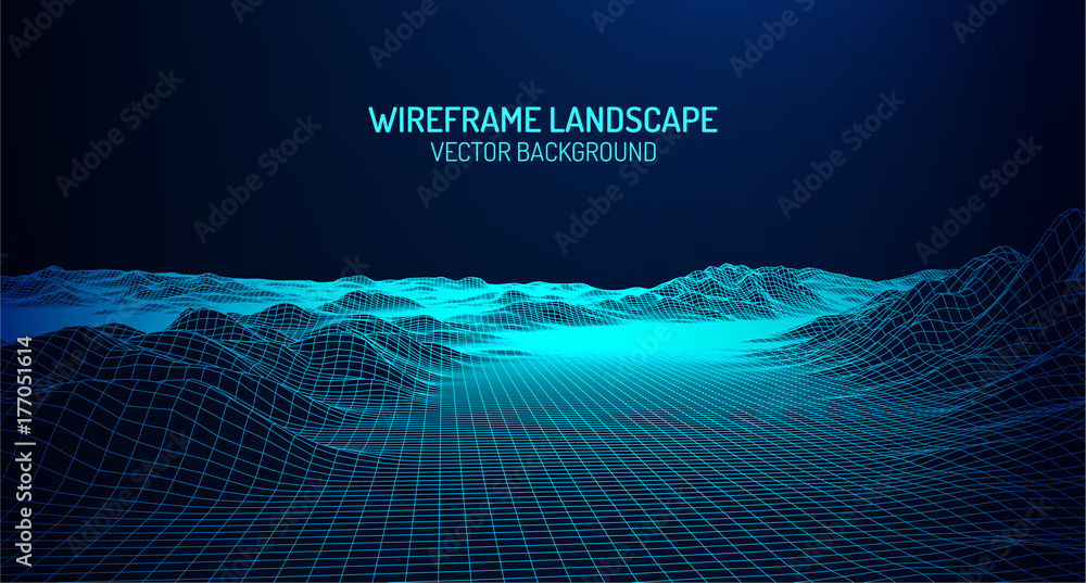Fototapety, obrazy: Abstract digital landscape with particles dots and stars on horizon. Wireframe landscape background. Big Data. 3d futuristic vector illustration. 80s Retro Sci-Fi Background