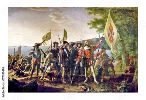 Christopher Columbus landed at Guanahani Fototapet