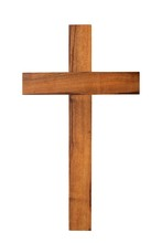 Wooden Cross On White