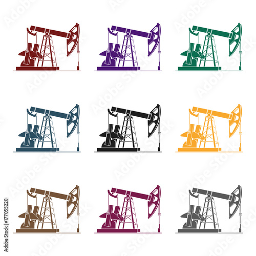 Oil Pumpjack Icon In Black Style Isolated On White Background Oil