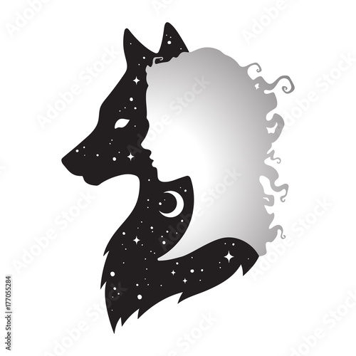 Fényképezés  Silhouette of beautiful woman with shadow of wolf with crescent moon and stars isolated