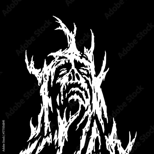 Fototapeta A demon with branches growing from it looks up