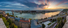 Budapest, Hungary - Amazing Colorful Sunrise Over The City Of Budapest With Szechenyi Chain Bridge, Liberty Bridge And Other Landmarks Taken From Buda Castle In The Morning