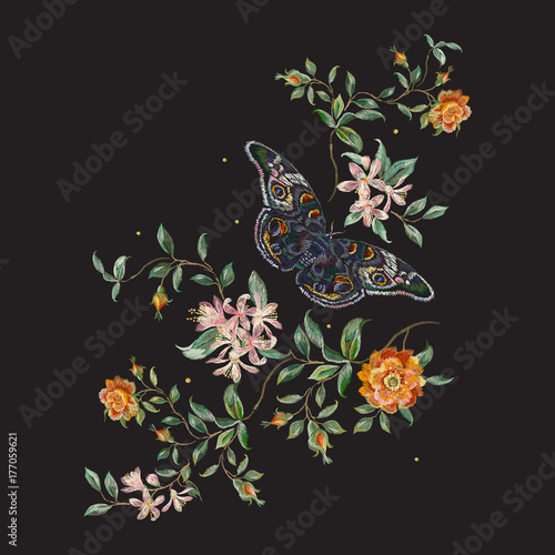 Tuinposter Vlinders Embroidery trend floral pattern with wild roses and butterfly. Vector traditional design set with flowers for wearing.