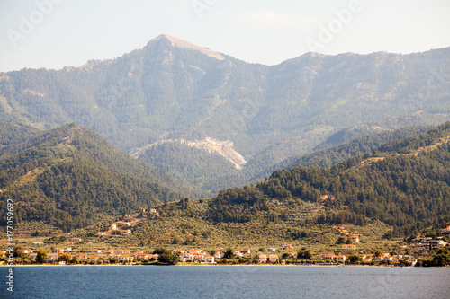Staande foto Stockholm Landscape with water and land in the background - Thassos island, Greece