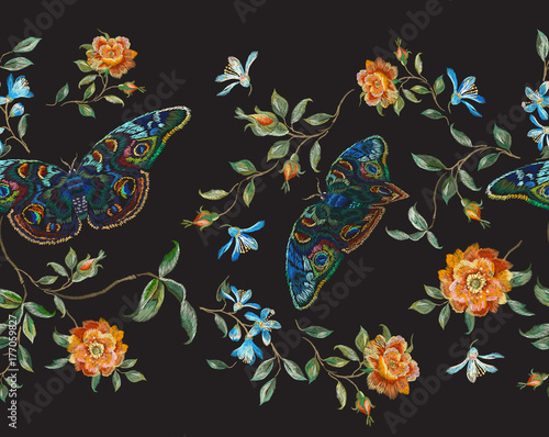 Tuinposter Vlinders Embroidery floral seamless pattern with wild roses and butterflies. Vector traditional design set with flowers for wearing.