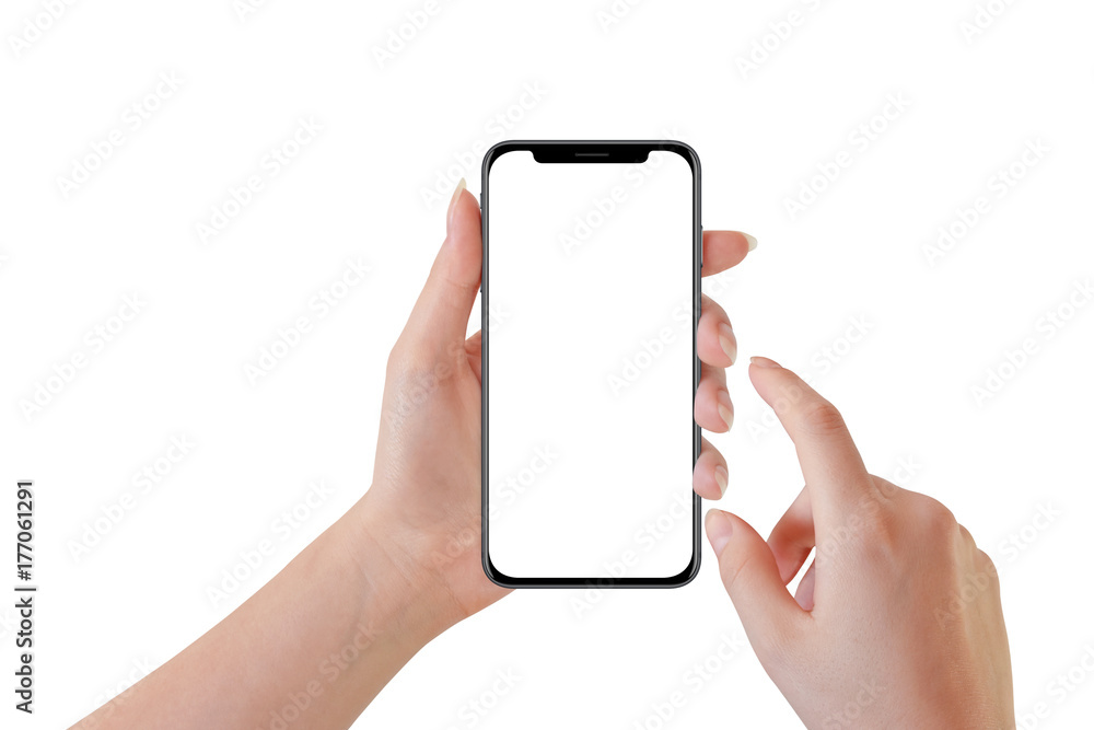 Fototapeta Woman hand holding modern black smartphone, isolated on white background
