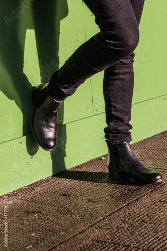 Black trousers and ladies vintage boots Poster