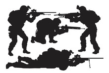 Vector Silhouettes Of Soldiers Set