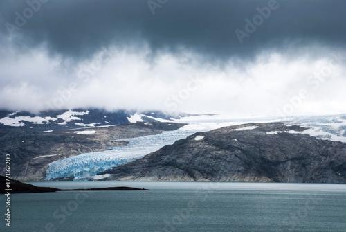 Plakat Norwegia Lodowiec Z Górami I Jeziorem