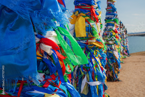 Canvas Prints Bird-of-paradise flower Poles hitching post near Khuzhir at Olkhon island in Siberia