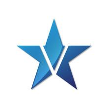 Initial Letter Logo Star Blue Color