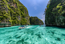 Beautiful Crystal Clear Water At Pileh Bay At Phi Phi Island In Krabi Near Phuket, Thailand. Concept For Tropical Summer Beach Travel.