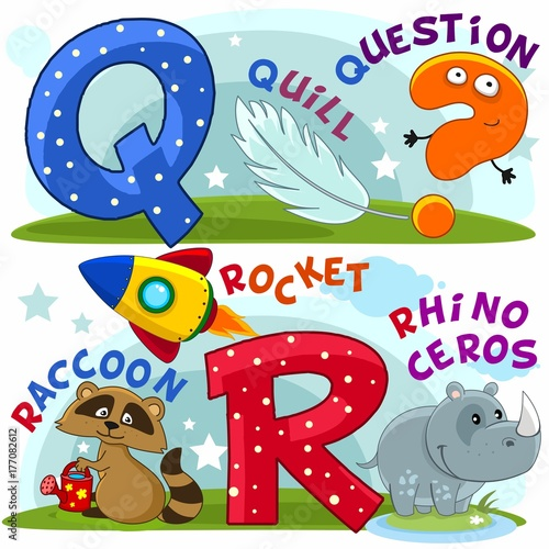 Photo  Colored cartoon English alphabet with letters Q and R for children, with pictures to these letters with a pen, question mark, raccoon, rocket, rhinoceros