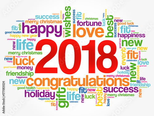 2018 year greeting word cloud collage happy new year celebration greeting card