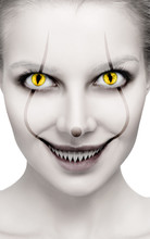Scary Female Face With Helloween Horror Grimm.