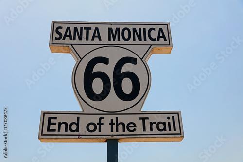 Route 66 Historic Route 66 Signpost in Santa Monica. California. USA