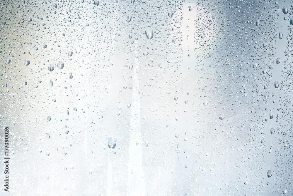 Fototapeta texture of a drop of rain on a glass wet transparent background