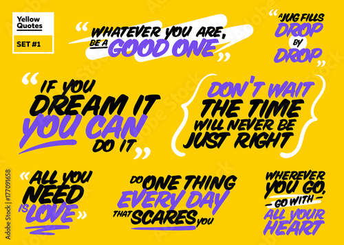 Vector Set Of Motivational Quotes Inspiring Short Phrases